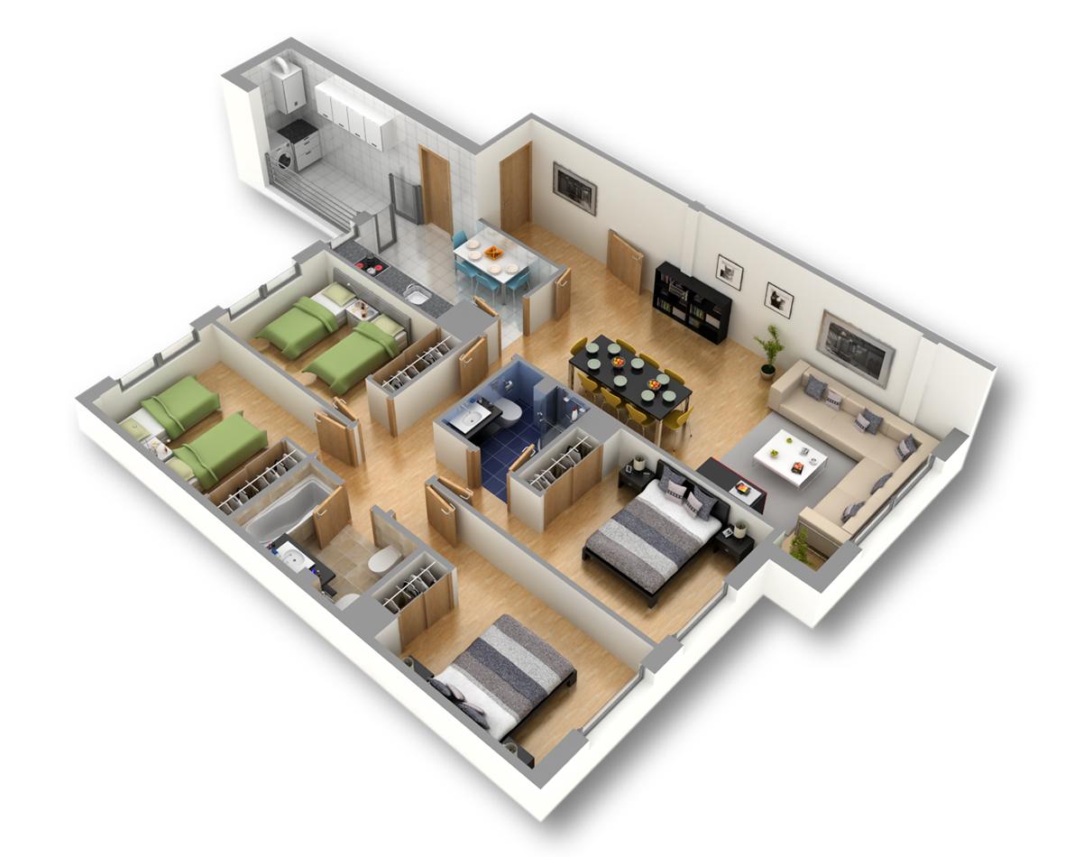 Viviendas exclusivas de 4 dormitorios junto al hospital for Planos de pisos de lujo