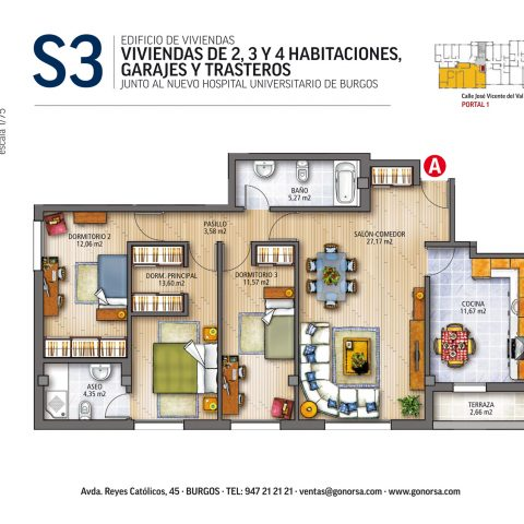 GONORSA J. V. Val 3 habitaciones