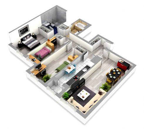 GONORSA - 3D Edif. Lovaina Modelo C